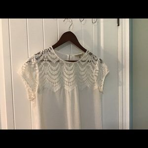 RW&Co Ivory Lace/Sheer Summer Blouse